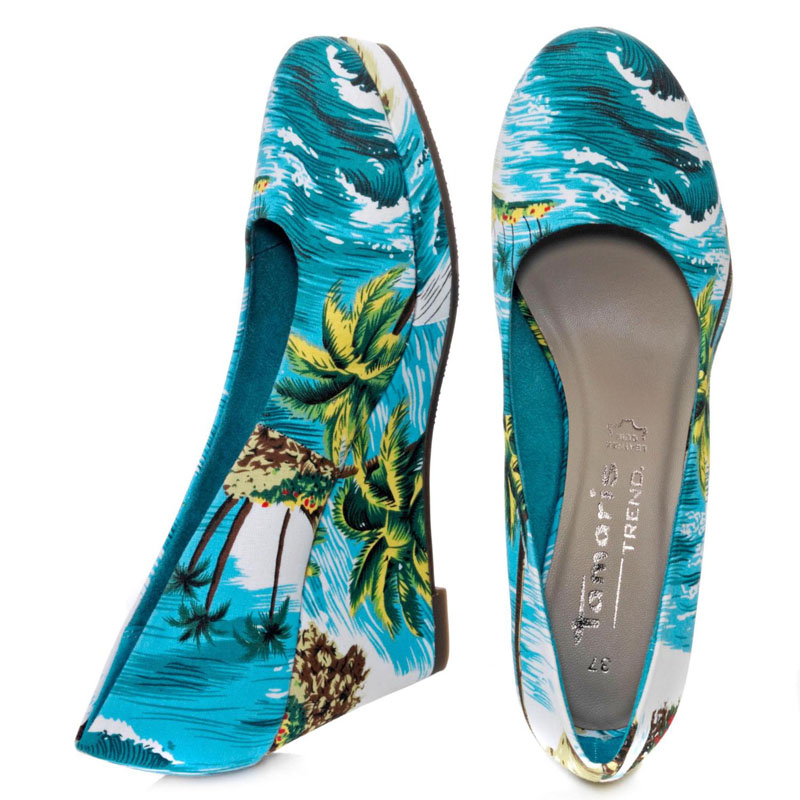 Pumps Hawaii Tropicana exotisch Print Tamaris Keilpumps