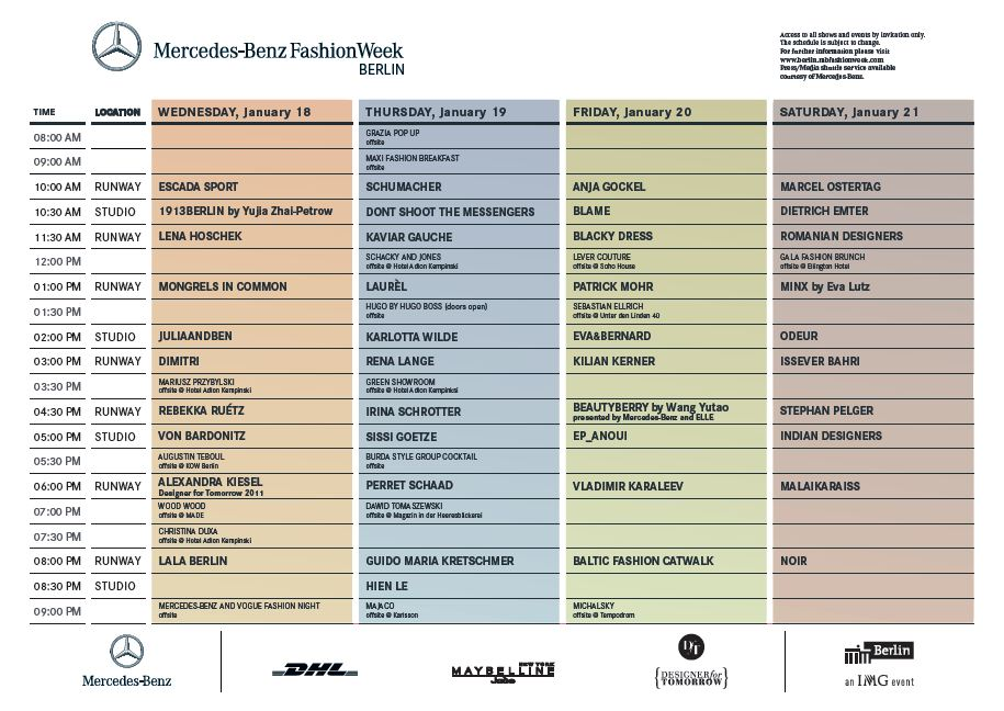 Schauenplan Mercedes Benz Fashion Week 2012